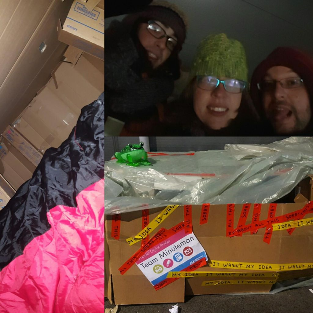 Team Minuteman joined forced with New Link Wales and built their own shelter out of cardboard, spending one night sleeping outside as part of the #SLEEPOUT2016 event to raise awareness and funds for the homeless. http://www.minutemanpressfranchise.co.uk