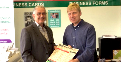 Minuteman Press franchise owner Keith Cohen (left) and North Star Pizza restaurant owner Colin Green (right) have been working together as B2B partners for 16 years. http://www.minutemanpressfranchise.co.uk