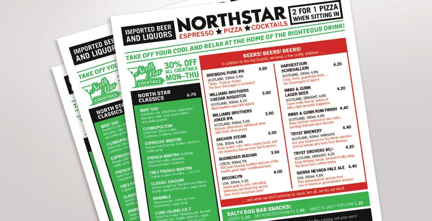 Sample menu produced by Minuteman Press franchise in Falkirk, Scotland for business client North Star Pizza. http://www.minutemanpressfranchise.co.uk