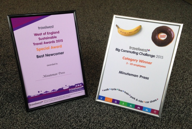Minuteman Press in Bristol, England Wins Two Sustainable Awards at Travelwest Business Travel Awards: Best Newcomer and category winner for the Big Commuting Challenge http://www.minutemanpressfranchise.co.uk