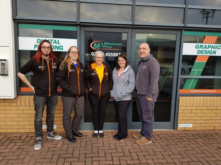 Meet the Team of Minuteman Press, Cardiff, Wales - L-R: Martin Davies, Louise Williams, Carol Coombs, Jodie Rouch, and Glenn Ingle. http://www.minutemanpressfranchise.co.uk