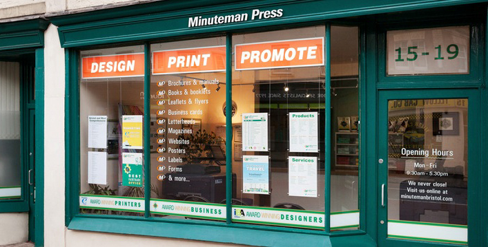 The Minuteman Press franchise owned by Peter Wise is located at 15 - 19 Nelson Parade in Bristol, England. http://www.minutemanpressfranchise.co.uk