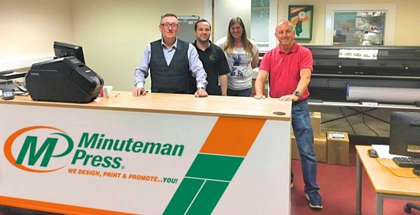 Meet The Team of Minuteman Press, Dunfermline, Scotland - L-R: Ronnie Hunter; Dan Georgescu; Nicole Barron; and Iain Gosman. http://www.minutemanpressfranchise.co.uk